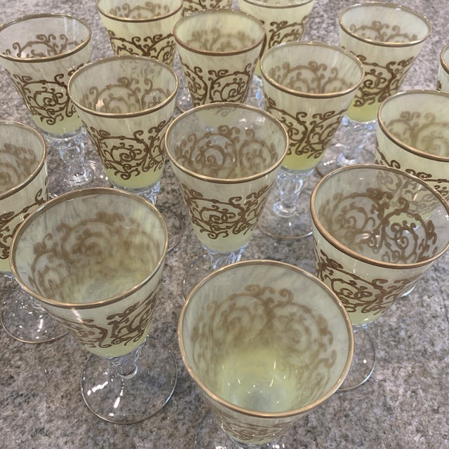 Mid 20th Century Hand-Blown Murano Chartreuse/Yellow Ombré Wine Glass Goblets - 4 Sets of 4 For Sale - Image 5 of 11