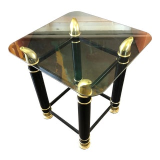 Vintage Side Table Brass Ox Horn Motif W/ Glass For Sale