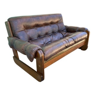 1970s Percival Lafer Style Tufted Leather Loveseat | Upholstered + Wood Frame For Sale
