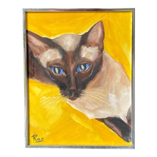Vintage Mid-Century Modern Siamese Cat Animal Portrait Oil Painting For Sale