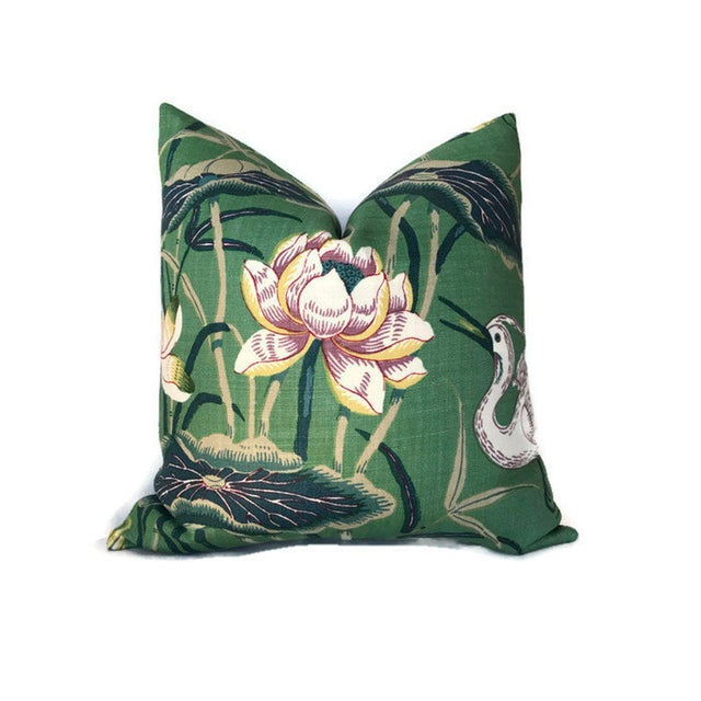 Schumacher Chinoiserie Lotus Jade Green Garden Pillow Cover For Sale - Image 4 of 4