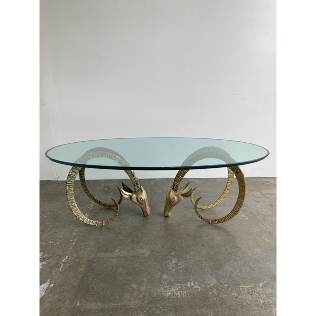 Hollywood Regency Brass Ibex Rams Head Coffee Table For Sale - Image 13 of 13