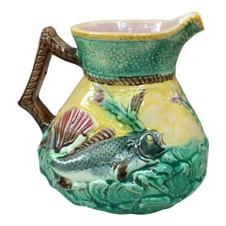 1880s English Majolica Fish and Shell Pitcher For Sale