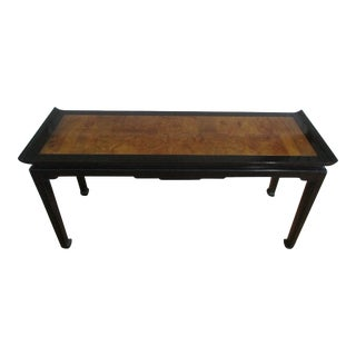 Black Lacquer and Burlwood Console Table For Sale