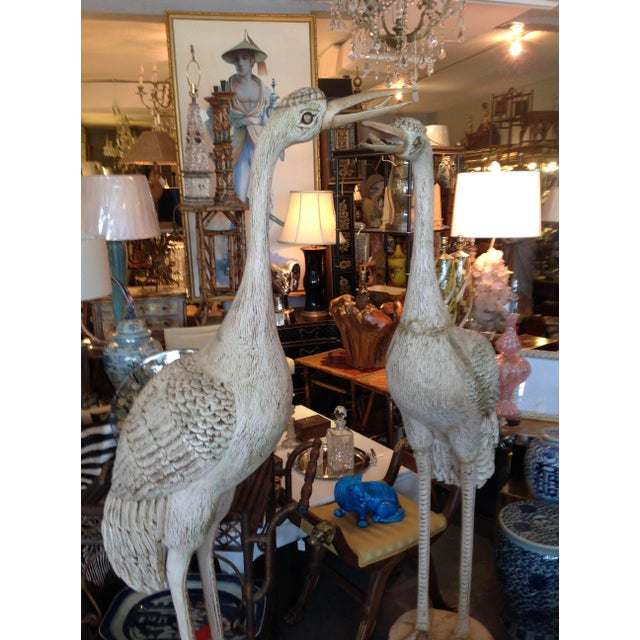 Grandly Scaled Pair of Vintage Carved Cranes For Sale - Image 10 of 14