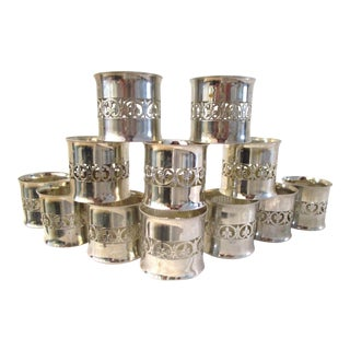Vintage Italian Silver Napkin Rings - Set of 12 For Sale