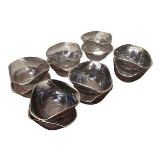 Mid-Century Ombre Silver-Rimmed Dorothy Thorpe Style Bowls - Set of 12 Sale! For Sale