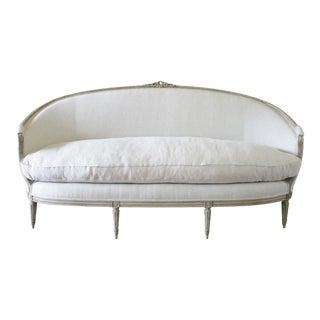 Late 18th Century Hand-Carved Louis XVI Style Painted French Sofa For Sale