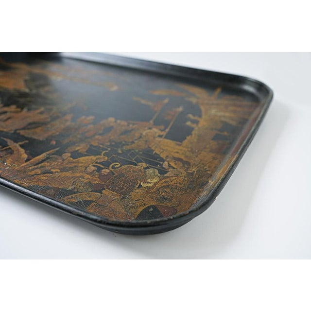 Asian Chinorisie Lacquer Tray For Sale - Image 3 of 7