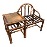 Image of Vintage Rattan and Woven Telephone Bench/ Gossip Table For Sale