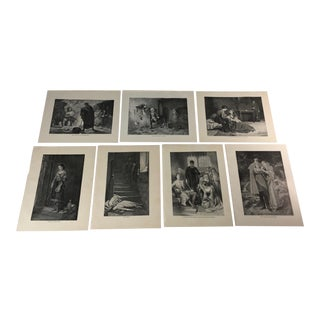 1892 Antique Characters From Works by Sir Walter Scott Prints - Set of 7 For Sale