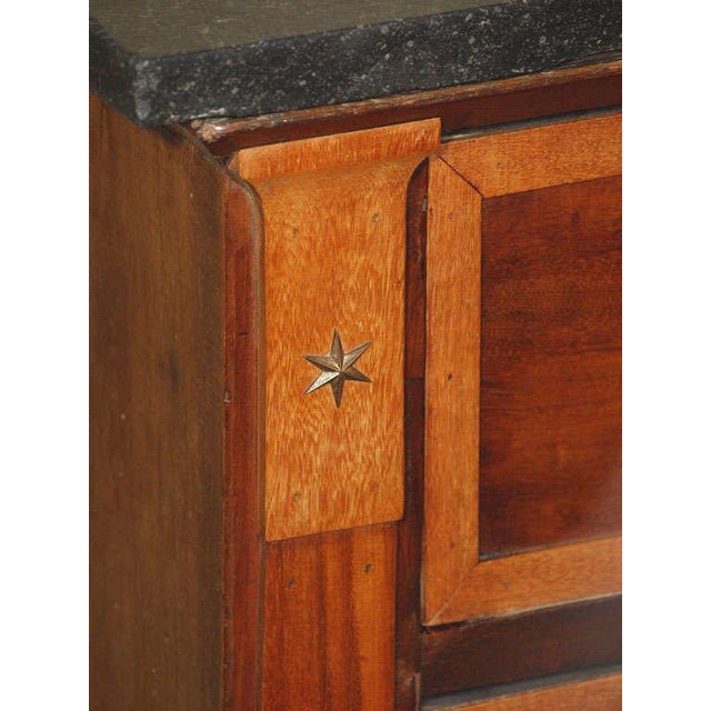 Mid 19th Century Antique French Directoire mahogany marble top commode. For Sale - Image 5 of 9