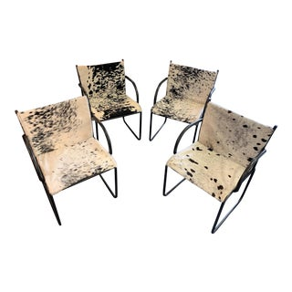 1970s Vintage Knoll Brazilian Cowhide Chairs- Set of 4 For Sale