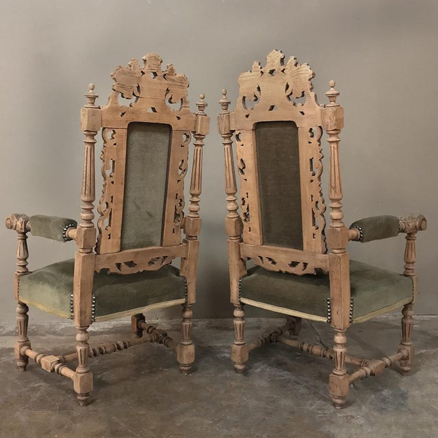 Pair 19th Century Black Forest Stripped Oak Armchairs For Sale - Image 10 of 11