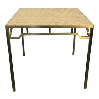 Billy Haines Brass / Capiz Inlaid Game Table For Sale