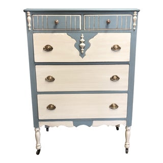 1930s Shabby Chic Two-Toned Chest of Drawers For Sale