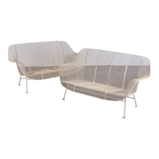 Woodard Sculptura White Wrought Iron Patio Settees - a Pair For Sale
