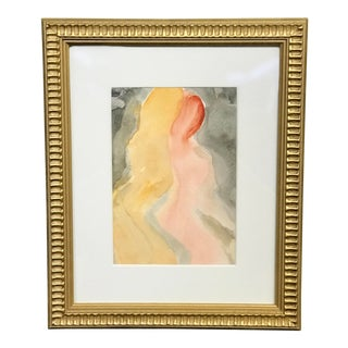 Vintage Abstract Figurative Watercolor For Sale