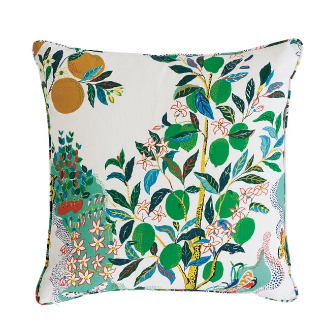 This pillow features Citrus Garden Indoor/Outdoor with a self-welt finish. Charming and whimsical, Josef Frank's beloved...
