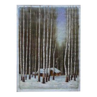 Oil Paint Canvas Art Winter Scene Birch Tree Wall Decor