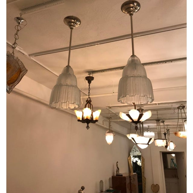 Marius-Ernest Sabino French Art Deco Waterfall Chandeliers Signed by Sabino - a Pair For Sale - Image 4 of 11