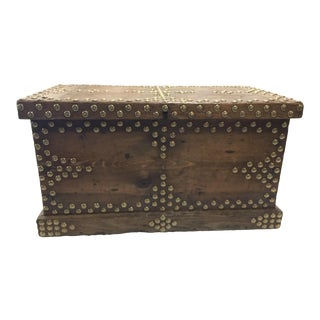 Antique Trunk Decorated With Tacks Treasure Chest For Sale