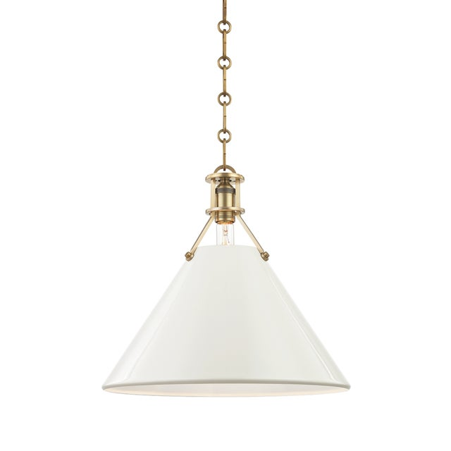 Mid-Century Modern Painted No.2 1 Light Large Pendant - AGB/OW For Sale - Image 3 of 5