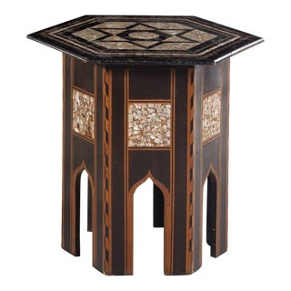 1900s Syrian Mother of Pearl and Ebony Inlaid Hexagonal Table For Sale