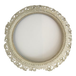 Vintage Round Gesso Mirror Frame For Sale