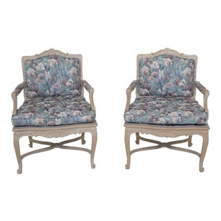 1990s Vintage French Louis XV Style Open Arm Occasional Chairs- A Pair For Sale