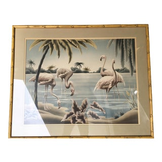 Turner Airbrush Flamingos Hawaiian in Carved Wood Bamboo Frame For Sale