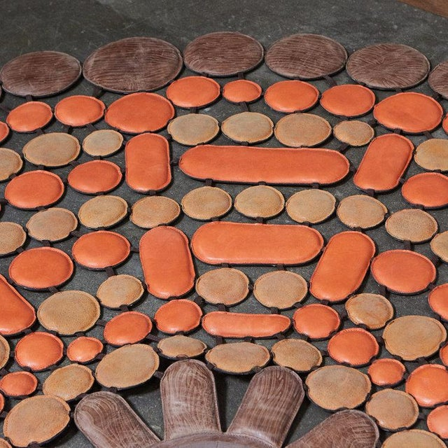 Italian Leather 'Sunshine Orange' Rug For Sale - Image 4 of 5