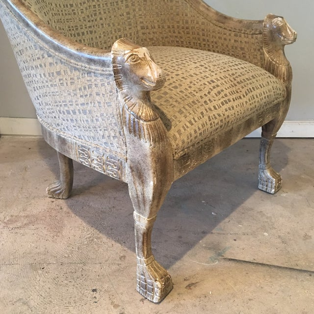 Neoclassical Lions Head Barrel Back Arm Chair For Sale - Image 4 of 11