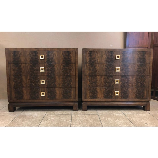 Gold Pair of Flame Mahogany Antique Style Chests For Sale - Image 7 of 7