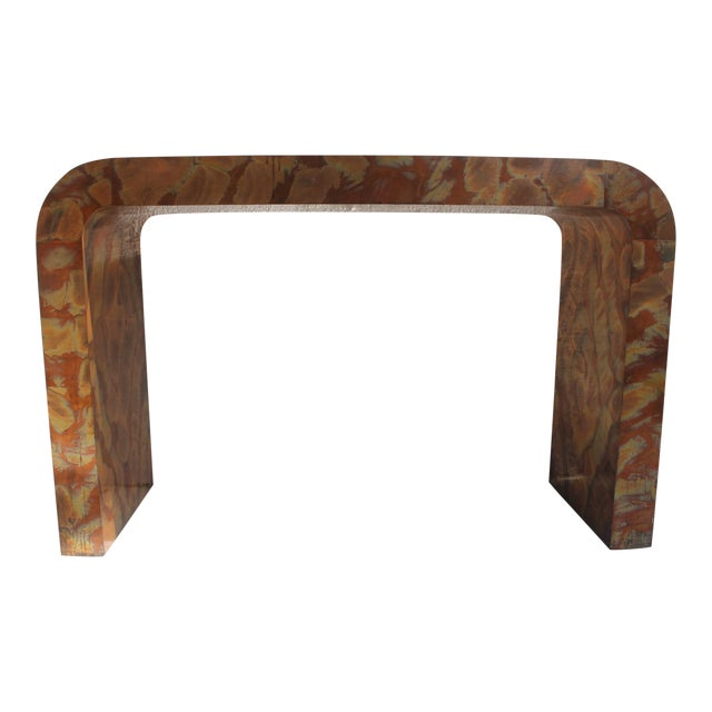 Paul Evans Style Waterfall Copper Console Table For Sale
