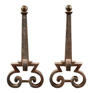 Attributed to Raymond Subes (1893-1970), Important Pair of Wrought Iron Andirons, Circa 1940. For Sale