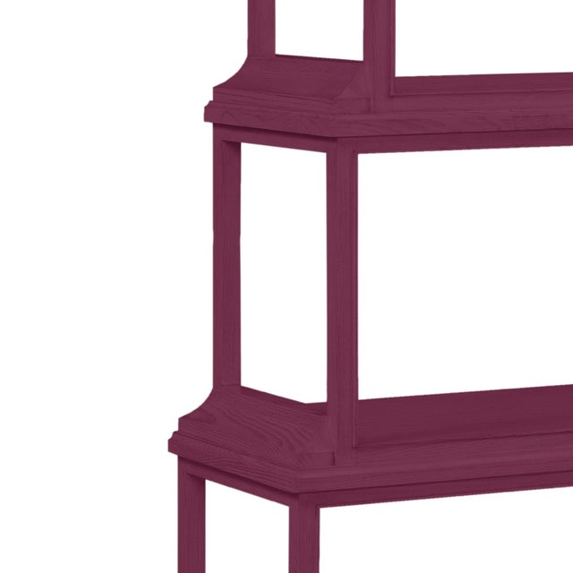 This is a made to order item with a 6-8 week leadtime. The color is Benjamin Moore Grape Juice.A stately etagere of 5...
