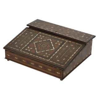 1910s Mother of Pearl Inlay and Wood Writing Box For Sale