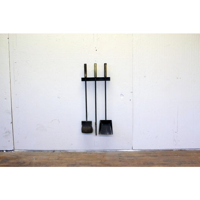 Mid-Century Modern Wall Mounted Brass and Iron Fire Tools For Sale In Philadelphia - Image 6 of 10