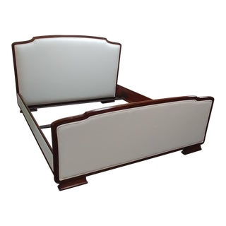 Art Deco Henredon Furniture Barbara Barry Reverie Walnut Upholstered King Bedframe For Sale