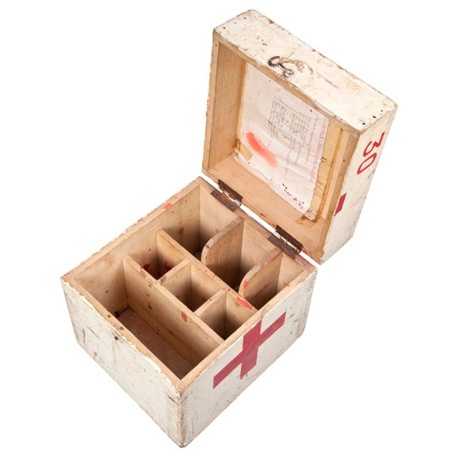 Vintage French Wood First Aid Box - Image 4 of 5