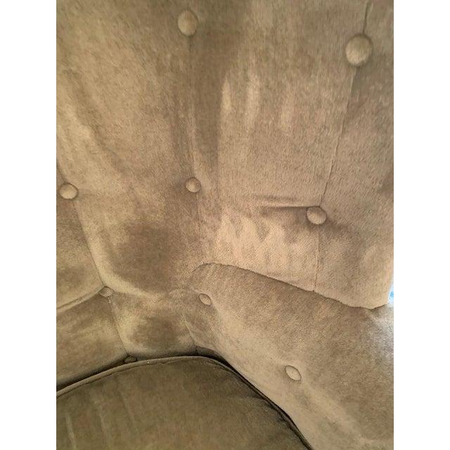 Vintage Tufted Sage Green Velvet Barrel Back Wing Chair For Sale - Image 11 of 12