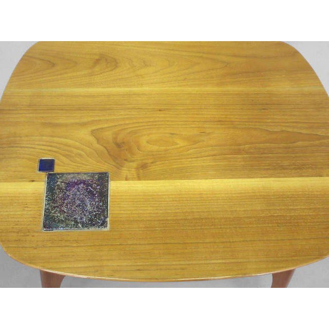 1950s Edward Wormley for Dunbar Occasional Table With Tiffany Tile For Sale - Image 5 of 7
