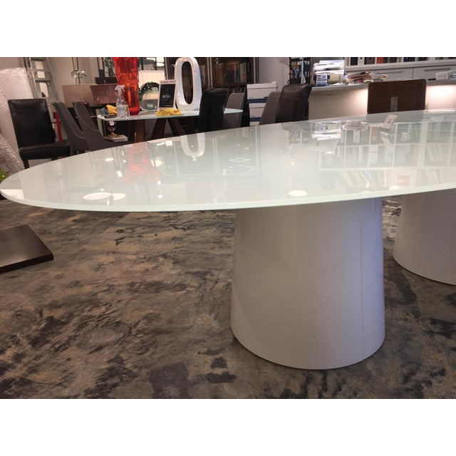 Etching Antares Italian Oval Glass White-Lacquer Base Table For Sale - Image 7 of 10