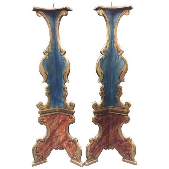 Pair of Italian Baroque Style Painted Torcheres For Sale
