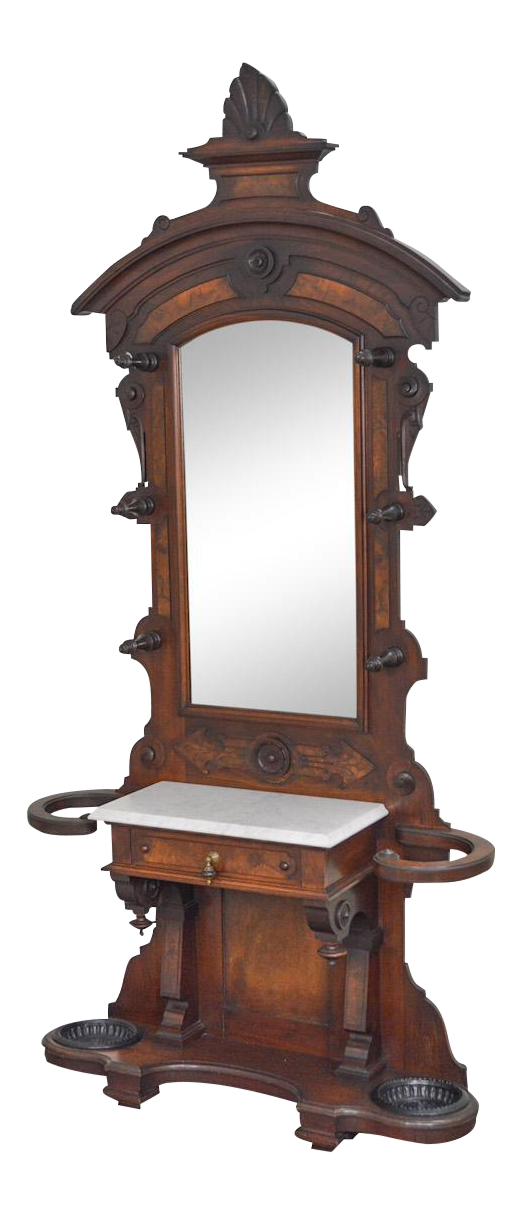 Antique Victorian Renaissance Walnut Marble Top Hall Tree W Mirror Chairish