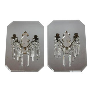 Antique French Mirrored Wall Sconces - A Pair