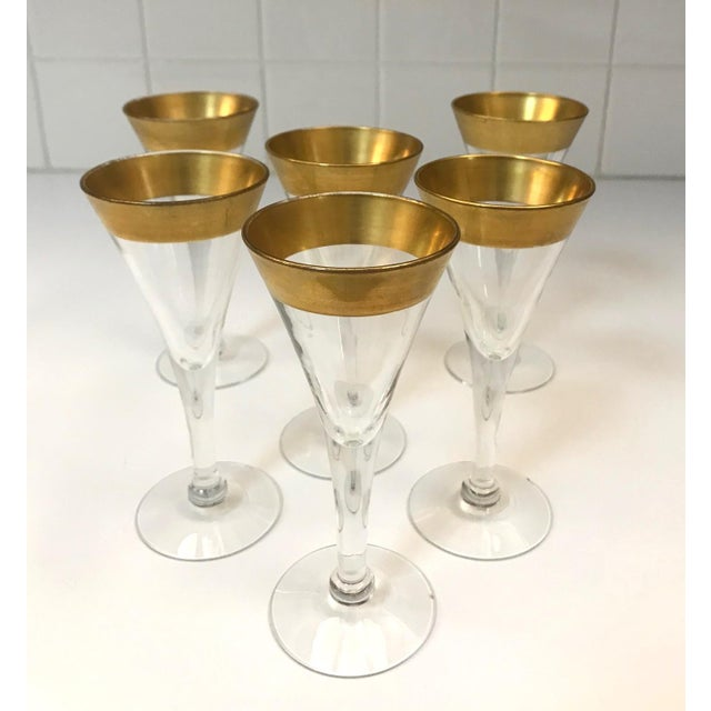 Set of six elegant barware glasses for cordials by iconic mid-century designer Dorothy Thorpe. Rare set features handblown...