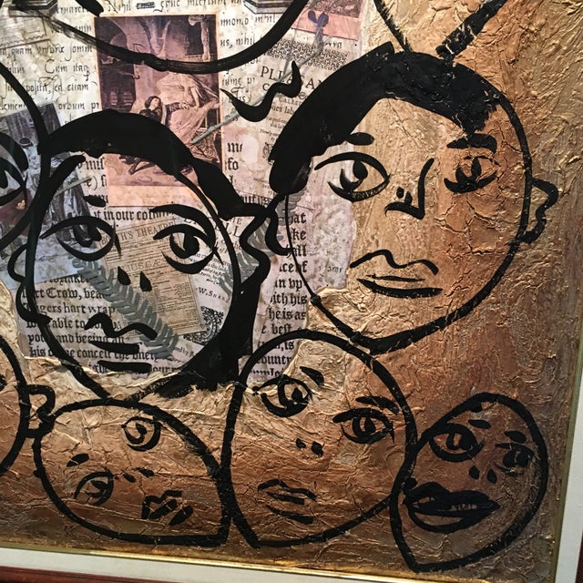 """Bronze Peter Keil Canvas Painting, """"Shakespeare Faces"""" For Sale - Image 8 of 13"""