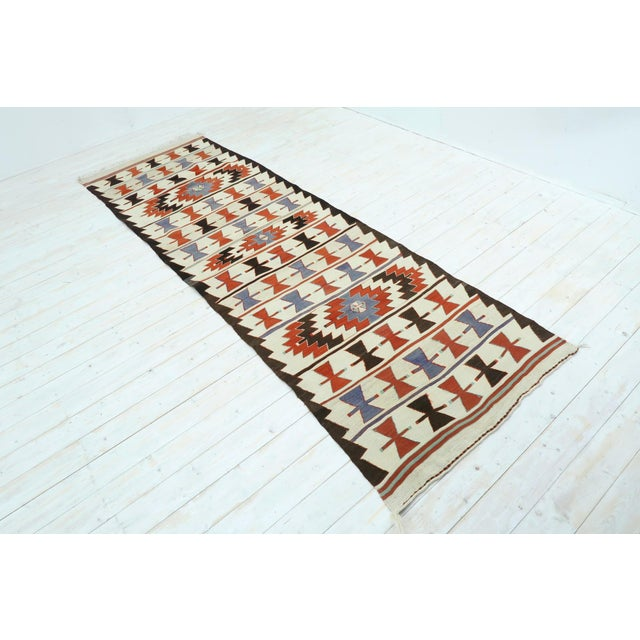 "Vintage Turkish Kilim Runner-3'5'x10'11"" For Sale - Image 13 of 13"